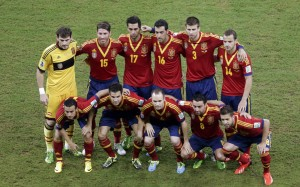 Spain's players pose for a team photo before their Confederations Cup Group B soccer match against Uruguay at the Arena Pernambuco in Recife